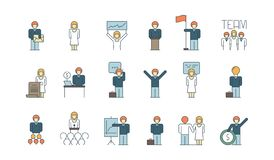 Icona del gruppo di affari Gruppo che lavora insieme vettore coordinato della gestione di processo aziendale di associazioni dell royalty illustrazione gratis
