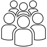 Icona del gruppo di sei persone illustrazione di stock