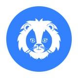 Icona del leone del circo nello stile nero isolata su fondo bianco Illustrazione di vettore delle azione di simbolo del circo Fotografie Stock Libere da Diritti