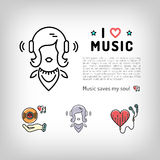 Icona del lettore, musica d'ascolto in cuffie, illustrazione della ragazza di vettore Immagini Stock