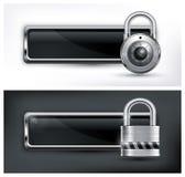 Icona del lucchetto sul bianco e nero Fotografie Stock Libere da Diritti
