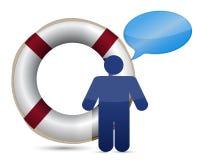 Icona del messaggio della salvavita di SOS Immagine Stock