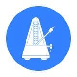 Icona del metronomo nello stile nero isolata su fondo bianco Illustrazione di vettore delle azione di simbolo degli strumenti mus Immagini Stock Libere da Diritti
