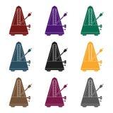 Icona del metronomo nello stile nero isolata su fondo bianco Illustrazione di vettore delle azione di simbolo degli strumenti mus Immagini Stock