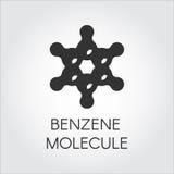 Icona del modello chimico della molecola del benzene Composto organico C6H6 Logo piano del nero dell'idrocarburo aromatico Fotografia Stock Libera da Diritti