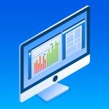 Icona del monitor dell'ufficio, stile isometrico illustrazione vettoriale