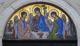 Icona del mosaico della trinità santa Fotografia Stock Libera da Diritti