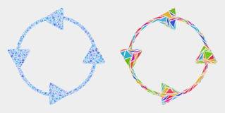 Icona del mosaico delle frecce di circolazione del senso antiorario di vettore degli elementi del triangolo royalty illustrazione gratis