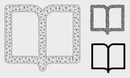 Icona del mosaico del modello e del triangolo della maglia di vettore del libro aperto 2D illustrazione vettoriale