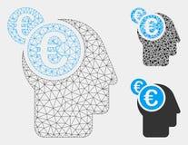 Icona del mosaico del modello e del triangolo di Intellect Vector Mesh dell'euro uomo d'affari 2D illustrazione di stock
