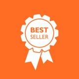 Icona del nastro del best-seller Illustrazione di vettore della medaglia nello stile piano Immagini Stock