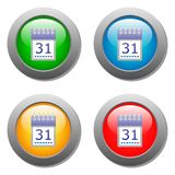 Icona del organaizer del calendario sui bottoni messi Fotografie Stock