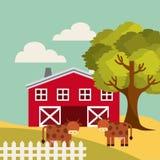 Icona del paesaggio di produzione agricola Immagine Stock Libera da Diritti