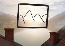 Icona del paesaggio sopra il fondo ed i tetti del paesaggio Immagini Stock