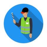 Icona del parcheggiatore nello stile piano isolata su fondo bianco Illustrazione di vettore delle azione di simbolo di zona di pa Fotografie Stock