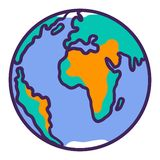 Icona del pianeta della terra, stile disegnato a mano royalty illustrazione gratis