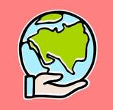 Icona del pianeta Terra di vettore a disposizione Salvo il pianeta Progettazione piana royalty illustrazione gratis