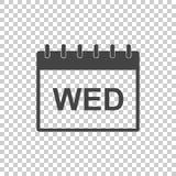 Icona del pittogramma della pagina del calendario di mercoledì Pittogramma piano semplice FO Immagine Stock Libera da Diritti