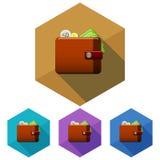 Icona del portafoglio di esagono Quattro variazioni di colore Gettare un'ombra Isolato su bianco illustrazione vettoriale