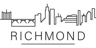 Icona del profilo della città di Richmond elementi della linea icona dell'illustrazione di paesaggi urbani i segni, simboli posso illustrazione vettoriale