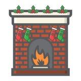 Icona del profilo riempita camino di Natale, nuovo anno Fotografia Stock Libera da Diritti