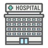 Icona del profilo riempita costruzione dell'ospedale, medicina Fotografia Stock