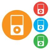Icona del riproduttore portatile Stile piano di progettazione Bottoni colourful rotondi Fotografia Stock