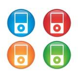Icona del riproduttore portatile Stile piano di progettazione Insieme di vetro dell'icona del bottone Immagini Stock Libere da Diritti
