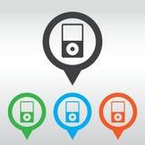 Icona del riproduttore portatile Stile piano di progettazione perno della mappa dell'icona Fotografia Stock