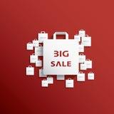 Icona del sacchetto della spesa con le vendite di Natale Fotografia Stock Libera da Diritti