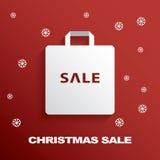 Icona del sacchetto della spesa con le vendite di Natale Immagini Stock