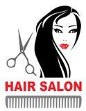 Icona del salone di capelli con la ragazza e le forbici illustrazione vettoriale