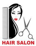 Icona del salone di capelli con la ragazza, le forbici ed il pettine illustrazione di stock