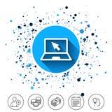 Icona del segno del computer portatile Notebook PC con il simbolo del cursore Immagini Stock Libere da Diritti