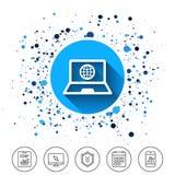 Icona del segno del computer portatile Notebook PC con il simbolo del globo Immagine Stock Libera da Diritti
