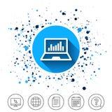 Icona del segno del computer portatile Notebook PC con il simbolo del grafico Immagini Stock Libere da Diritti