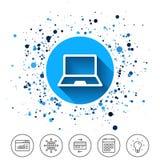 Icona del segno del computer portatile Simbolo di Notebook PC Fotografie Stock