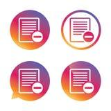 Icona del segno del file di testo Simbolo del documento dell'archivio di cancellazione Fotografia Stock