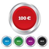 Icona del segno dell'euro 100. Simbolo di valuta di EUR. Immagine Stock