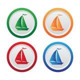 Icona del segno della barca o della barca a vela Bottoni del cerchio Vettore Fotografia Stock Libera da Diritti