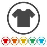 Icona del segno della maglietta Copre il simbolo Bottoni colourful rotondi illustrazione di stock