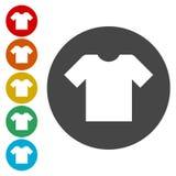 Icona del segno della maglietta Copre il simbolo Bottoni colourful rotondi royalty illustrazione gratis