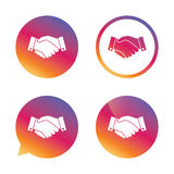 Icona del segno della stretta di mano Riuscito simbolo di affari Immagini Stock Libere da Diritti