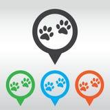Icona del segno della zampa Il cane pets il simbolo di punti perno della mappa dell'icona Immagini Stock Libere da Diritti