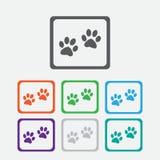 Icona del segno della zampa Il cane pets il simbolo di punti rotondo Immagini Stock Libere da Diritti