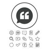 Icona del segno di citazione Simbolo delle virgolette Immagini Stock