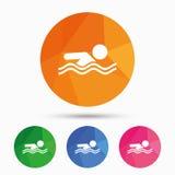 Icona del segno di nuoto Simbolo di nuotata dello stagno Fotografie Stock Libere da Diritti