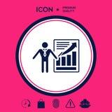 Icona del segno di presentazione Uomo che sta con il puntatore vicino al infographic Immagine Stock