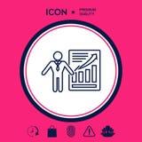 Icona del segno di presentazione Uomo che sta con il puntatore vicino al infographic Linea icona Fotografia Stock