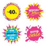 icona del segno di sconto di 40 per cento Simbolo di vendita Immagine Stock Libera da Diritti